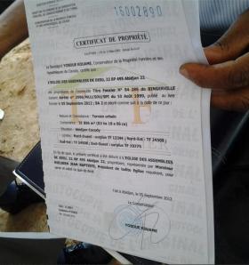 Présentation d'un Certificat foncier ivoirien