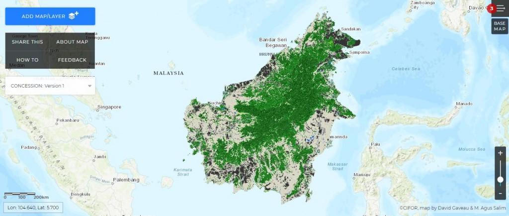 Aperçu satellite forêt Bornéo